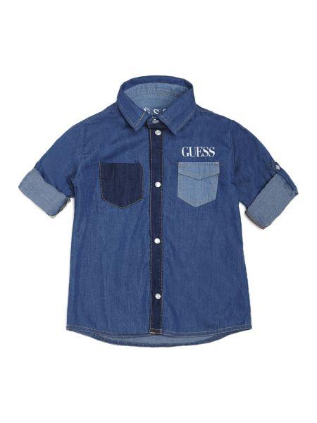 Camisa Denim Minibolsillos En Contraste de Guess